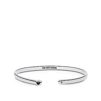 San Jose Sharks Engraved Sterling Silver Black Onyx Cuff Bracelet