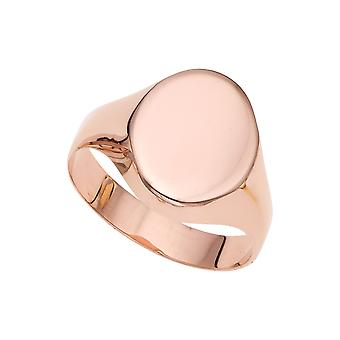 14k Rose Gold Oval Disc Signet Womens Ring, 7