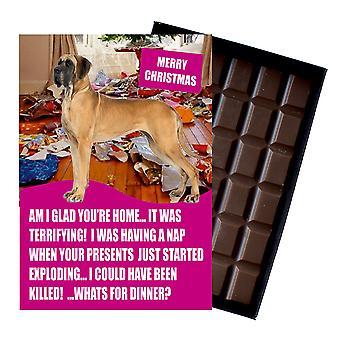 Gran danés divertido regalo de Navidad para el amante del perro en caja de chocolate tarjeta de felicitación de Navidad presente