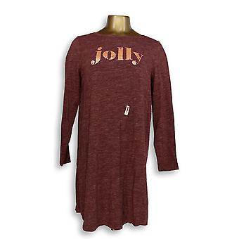Każdy Kobiet's Sleepshirt Loungewear Cozy Knit Message T-Shirt Red A296885