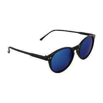 Zonnebril Heren en Zonnebrillen Dames Polaroid Rond - Zwart/Blauw met gratis brillenkokerS320_1