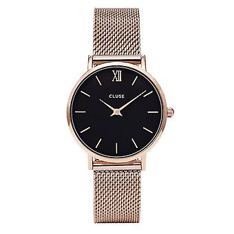 Cluse Watches Cl30016 Minuit Black & Rose Gold Mesh Ladies Watch