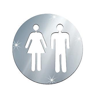 Sticker decalcomania Toa Toilet urgente Uomo e donna Argento