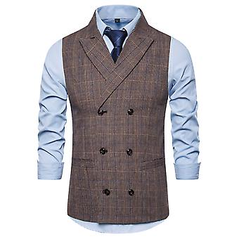 YANGFAN Mens Double Breasted Check Waistcoat Gilet Casual Pierced  Collar Vest