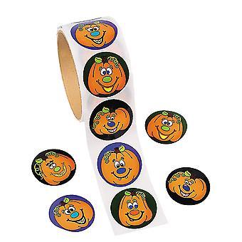 Rollo de 100 Halloween calabaza pegatinas para niños | Manualidades de Halloween de los niños
