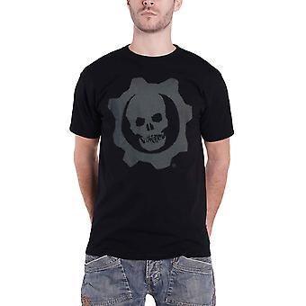 Gears Of War T Shirt Skull Badge Emblem logo new Official gamer Mens Black