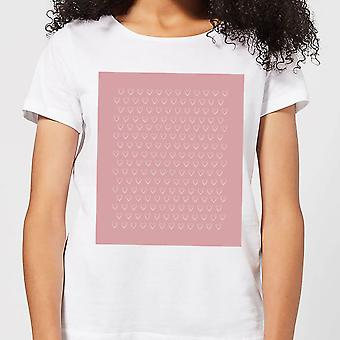 Candlelight Hand Drawn White Love Heart Repeat Pattern Women's T-Shirt - White