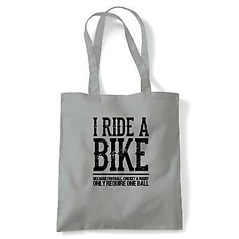 Eu monto a-bicicleta ciclismo motociclista engraçado, Tote - Reutilizável Shopping Canvas Bag Gift