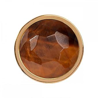 Nikki Lissoni Tiger Eye Small Gold Plated Coin C1322GS