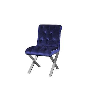 Velvet Button Tufted Dining Side Chairs with Steel X Style Legs, Blue and Silver, Set of Two