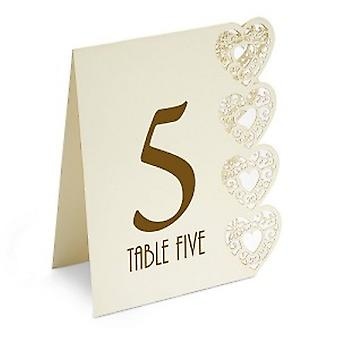 Heart Design Table Numbers 1-15 Ivory