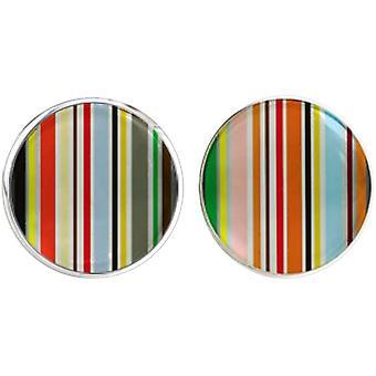 Bassin and Brown Stripe Cufflinks - Multi-colour