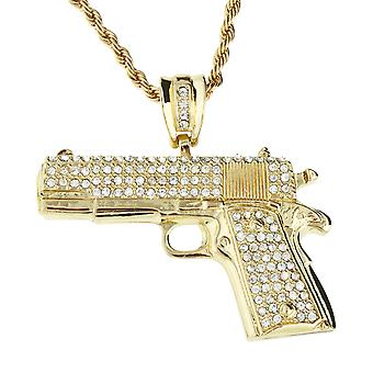 Iced out bling hip hop chain - gun gold