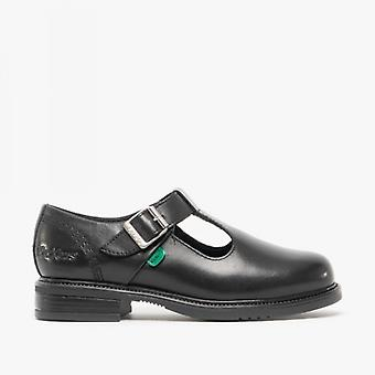 Kickers Lach T-bar Junior Girls Leather Shoes Black