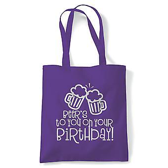 Øl til deg tote | Happy Birthday feiring Party får eldre | Gjenbrukbare shopping Cotton Canvas Long håndtert Natural shopper miljøvennlig mote
