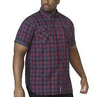 Duke D555 Mens Herbie Big Tall King Size Short Sleeve Button Down Shirt - Plum