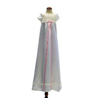 Dopklänning I Off White Med Kort ärm, Smal Rosa Rosett .grace Of Sweden