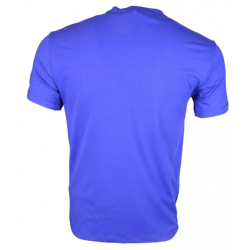 Cavalli Class Costina Stretch Cotton Jersey Lion Print Peacock Blue T-shirt