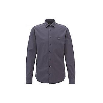 هوجو بوس عارضة قميص للرجال Mypop_1 صالح سليم الظلام الأزرق ذات اكمام طويلة
