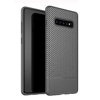 Für Samsung Galaxy S10 Plus Fall grau Kohlefaser Textur TPU zurück Abdeckung