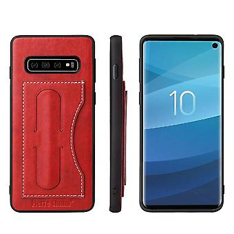 Pour Samsung Galaxy S10 PLUS Case, Red Luxury Leather Kickstand Wallet Cover