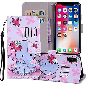 for iPhone XS MAX deksel lær folio lommebok kort spor veske butterfly elefant