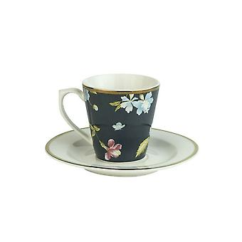 Laura Ashley Espresso Cup & Saucer, Midnight 9cl