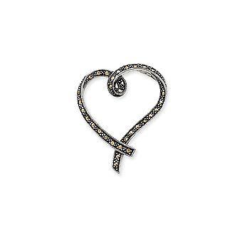 925 Sterling Silber Marcasite Liebe Herz Folie Schmuck Geschenke für Frauen
