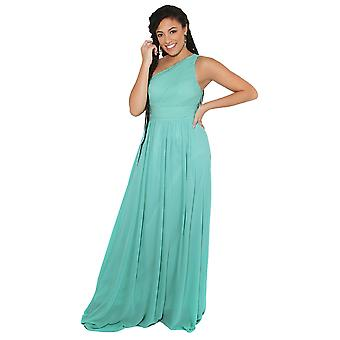 KRISP kvinner Maxi kjole formell en av skulder kappe chiffon kveld bryllupsfesten 8-20