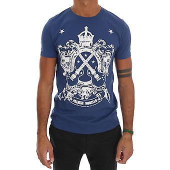 Frankie Morello Blue Cotton Guitar Crewneck T-Shirt