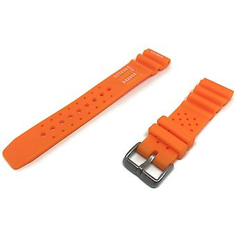 Diving watch strap heavy duty orange rubber extra long nd limits 18mm to 24mm