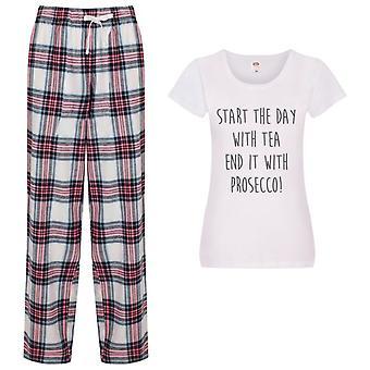 Aloita päivä tea end it prosecco tartan housut pyjamat