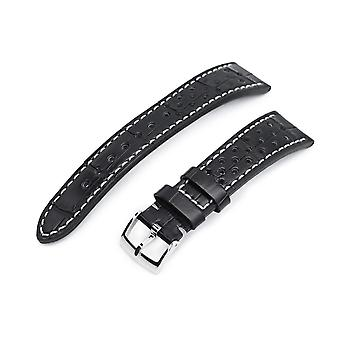 Strapcode alligator watch strap 20mm miltat rally racing genuine alligator black watch strap, beige stitching