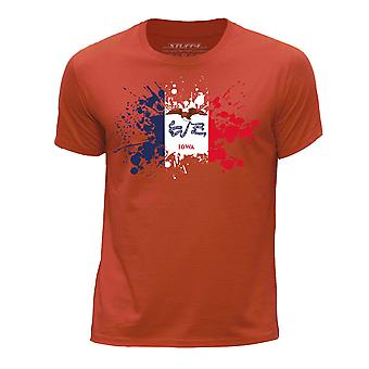 STUFF4 Gola redonda T-Shirt / / Iowa EUA estado bandeira Splat/laranja do menino