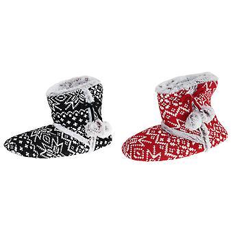 Slumberzzz Womens/Ladies Pom-Pom Slipper Boots