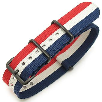 Strapcode n.a.t.o watch strap 18mm, 20mm or 22mm nato french flag  pvd black (france, luxembourg, netherlands, russia, iceland, czech republic)