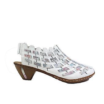 Rieker Sina 46778-80 Ice Multi Coloured Leather Womens Slingback Heeled Summer Shoes