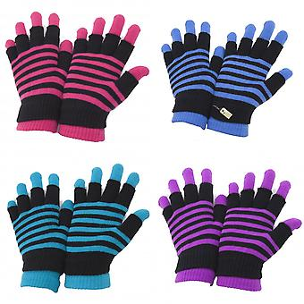 Ladies/Womens Striped Thermal 2 In 1 Magic Gloves (Fingerless And Full Fingered)