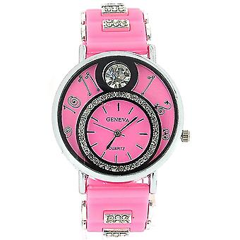 Ladies Blinger Crystal Double Dial Baby Pink Silicone Fashion Watch GE0637