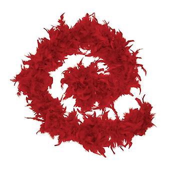 羽毛製の襟巻。 赤
