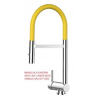 Single-lever Kitchen Sink Mixer Yellow Folding Spout Only 6 Cm And 2 Jets Spray Shower - Handle On Left Side - 460