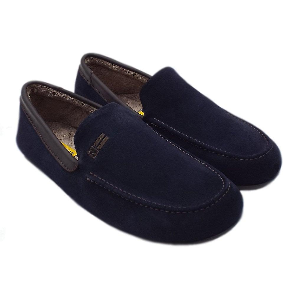Nordikas 1390 Alvaro Men-apos;s Luxury Moccasin Slippers In Navy Suede