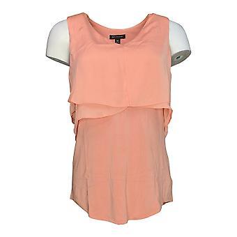 H by Halston Women's Top (XXS) Sleeveless w/Cascade Overlay Pink A275408