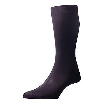 Pantherella Sackville Flat Knit Cotton Lisle Socks - Black
