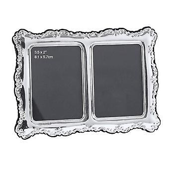 Orton West Double Photo Frame 2x3.5 - Silver