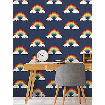 Rainbow Wallpaper Navy Blue Belgravia 9990