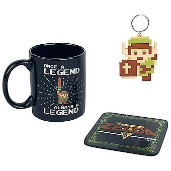 Zelda Retro NES Mug, Coaster & Keychain Gift Set