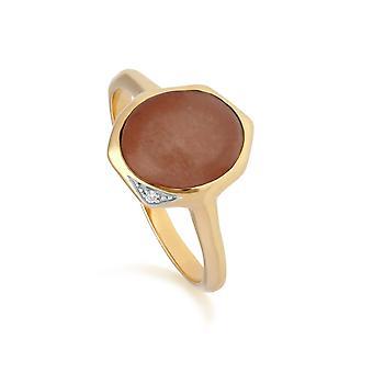 Unregelmäßige B Edelstein gefärbt rot Jade & Diamant-Ring in vergoldeten Sterling Silber 270R057504925