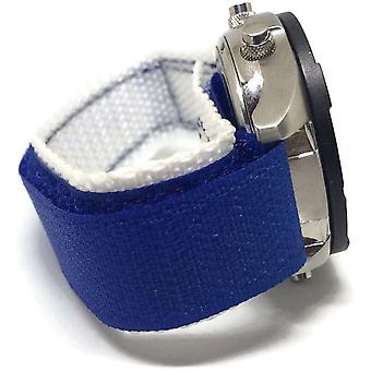 Velcro bracelet de montre bleu blanc 20mm nylon sports