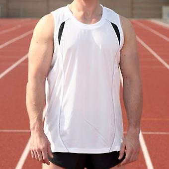 Precision Mens Running Exercise Fitness Training Vest Singlet Top White